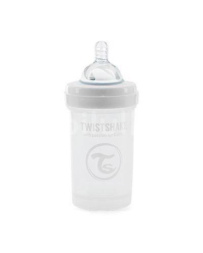 Twistshake Kojenecká láhev Anti-Colic Bílá (dudl.S) 180ml
