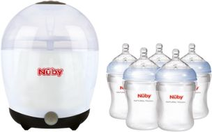 Nuby Elektrický sterilizátor + 5 lahví 210ml