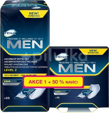 TENA Men Absorbent protector Level 2 Inkontinenční vložky 20 + 10ks