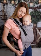 Kinder Hop Rostoucí ergonomické nosítko Multi Grow Little Herringbone Grey, 100% bavlna, žakár