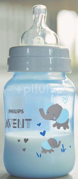 Philips AVENT Láhev Anti-colic Modrá slon 260ml
