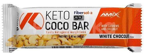 Amix KetoLean Keto goBHB Coco Bar, Bílá čokoláda 40g