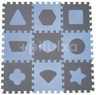 Baby Dan Pěnová hrací podložka puzzle Geometrické tvary, Blue 90x90 cm