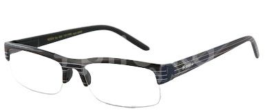 American Way Čtecí brýle černé s pruhy a pouzdrem +1.50