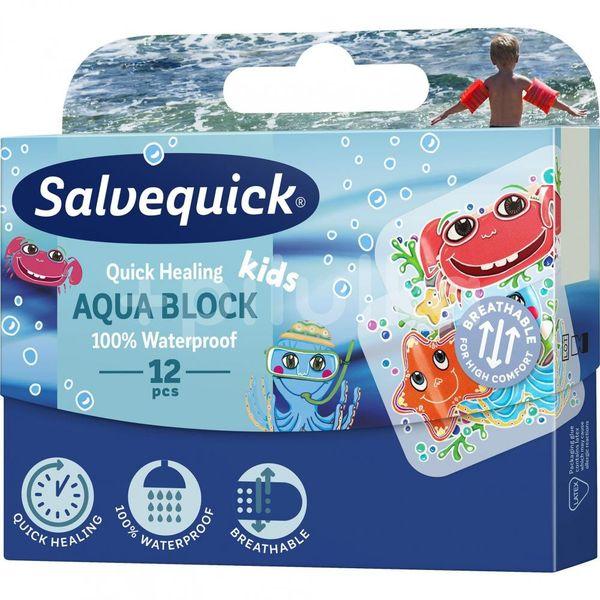 Salvequick Aqua Block Kids Náplast urychlující hojení pro děti, voděodolná 12ks