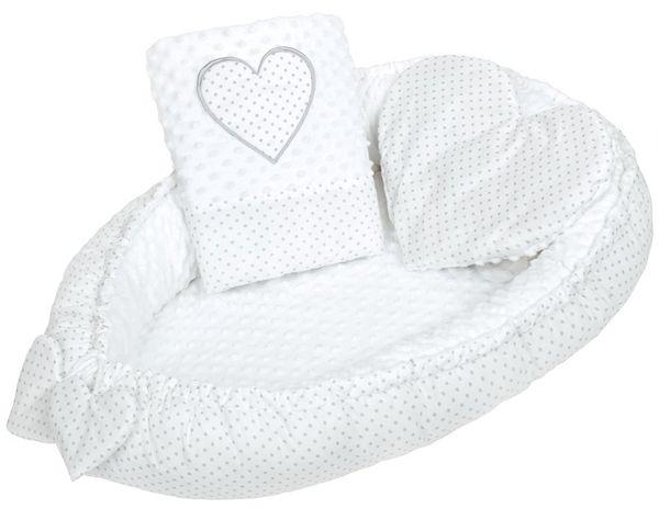 New Baby Luxusní hnízdečko s polštářkem a peřinkou Srdíčko bílé