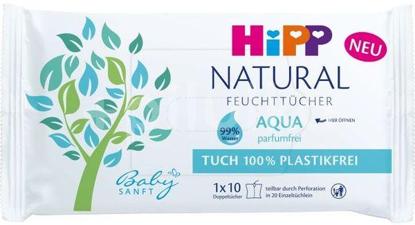 HiPP Babysanft Čistící vlhčené ubrousky Natural Aqua 10ks