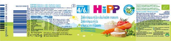 HIPP BIO Zelenina a rýže s kuřecím masem 125g