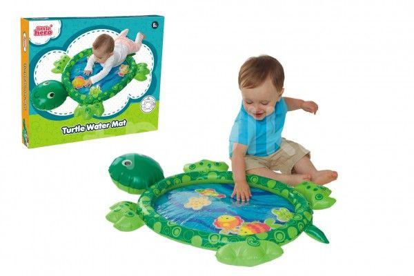 Teddies Zábavná vodní podložka želva nafukovací s doplňky v krabici 6m+