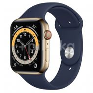 Apple Watch S6 GPS + Cellular, 44mm Gold Stainless Steel Case, Deep Navy Sport band 1ks