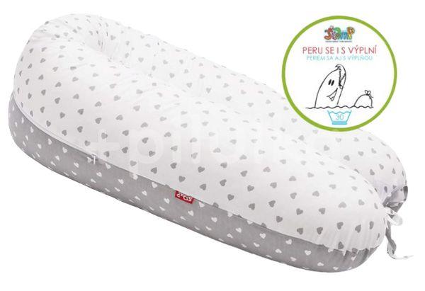 Scamp Kojící polštář Little heart White Grey 160x30cm