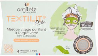 Argiletz Maska pleťová čisticí textilní se zeleným jílem 3ks
