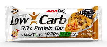 Amix Low-Carb 33% Protein Bar, Peanut Butter Cookies, 60g