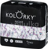 Kolorky NIGHT - L (8-13 kg) noční jednorázové eko plenky 19ks