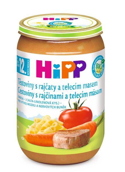 HiPP MENU BIO Těstoviny s rajčaty a telecím masem 220g