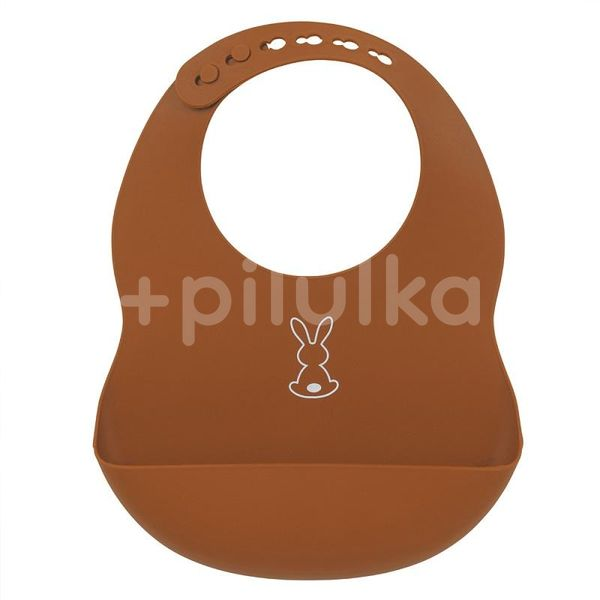 NATTOU Bryndák silikonový se zapínáním bez BPA terakotový