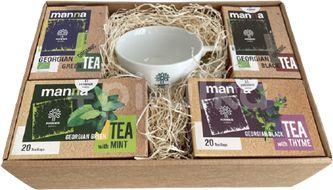 Dárková krabice gruzínských čajů Manna s originálním hrníčkem