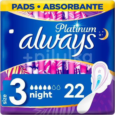 Always Platinum Night (Velikost 3) Hygienické Vložky SKřidélky 22ks