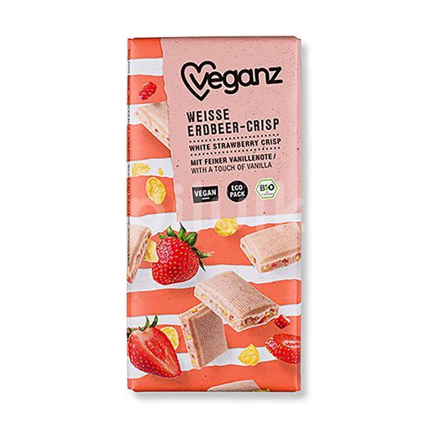 Veganz bílá čokoláda s jahodami a křupinkami Bio 80g