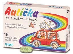 Favea Autíčka pro pohodové cestování 10 žvýkacích tablet