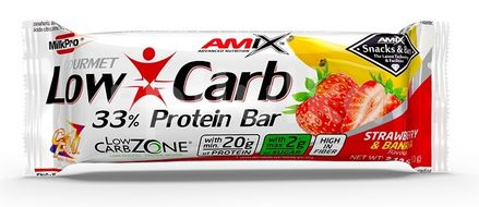 Amix Low-Carb 33% Protein Bar, Strawberry-Banana, 60g