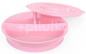 Twistshake dělený talíř 6+m pastelově růžový