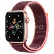 Apple Watch SE GPS + Cellular, 44mm Gold Aluminium Case, Plum Sport Loop 1ks