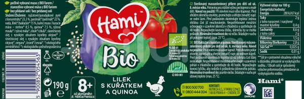 Hami BIO masozeleninový příkrm Lilek s kuřátkem a quinoa 190g, 8+
