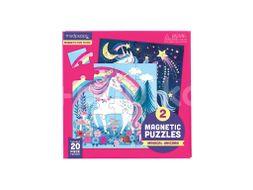 Mudpuppy Magnetické puzzle, Jednorožci 2x20ks