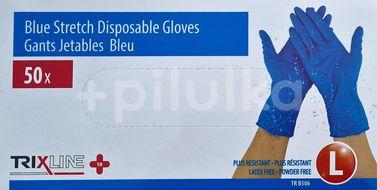 Rukavice nitrilové modré bez pudru vel. L 50ks