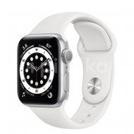 Apple Watch S6 GPS, 40mm Silver Aluminium Case, White Sport Band, Regular 1ks