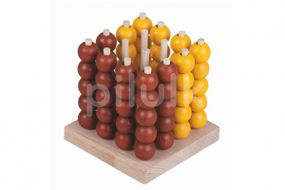Piškvorky 3D podstavec + kuličky dřevo/kov hlavolam společenská hra 8,5x8,5x9cm