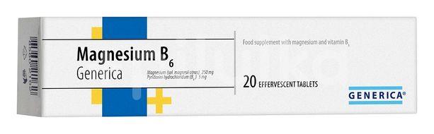 Generica Magnesium B6 20 šumivých tablet