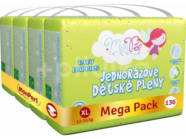 MonPeri Klasik Mega Pack XL 12-16kg Eko Jednorázové dětské pleny 136ks