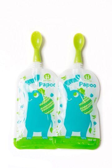 Lžička ke kapsičce Papoo 2ks zelená Petite&Mars