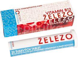 Rosen Železo + B12 20 šumivých tablet