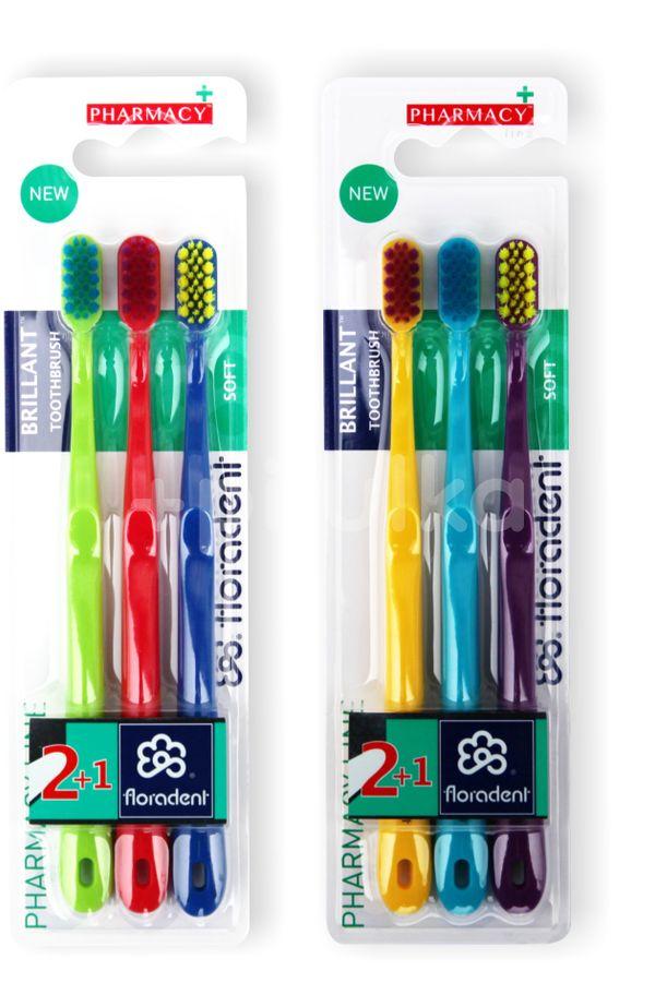 Floradent Brillant zubní kartáček soft 2+1ks