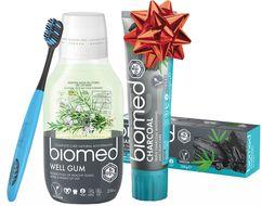 Vánoční Biomed Charcoal & Well Gum zubní pasta a voda s kartáčkem navíc 3ks