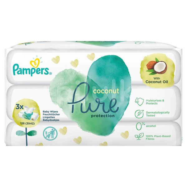 Pampers ubrousky Pure protection Coconut Oil TRIO 3x42ks