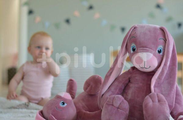 My Teddy Dárkový set Můj malý zajíček a muchláček - růžový