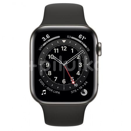 Apple Watch S6 GPS + Cellular, 44mm Graphite Stainless Steel Case, Black Sport Band, Regular 1ks