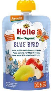 Holle Bio pyré - Blue bird- Hruška, jablko a borůvky s vločkami 100g