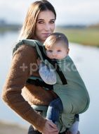 Kinder Hop Rostoucí ergonomické nosítko Multi Grow Little Herringbone Torquoise, 100% bavlna, žákar