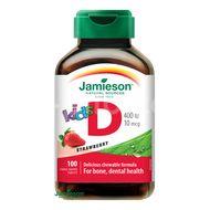 Jamieson Vitamín D3 Kids 400 IU tablety na cucání s příchutí jahody pro děti 100 tablet