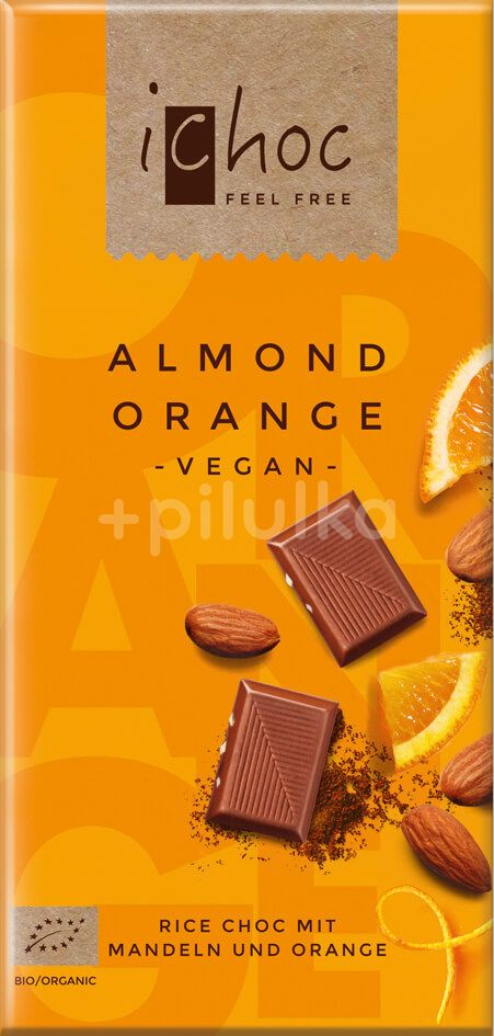 iChoc Bio vegan čokoláda mandle pomeranč 80g