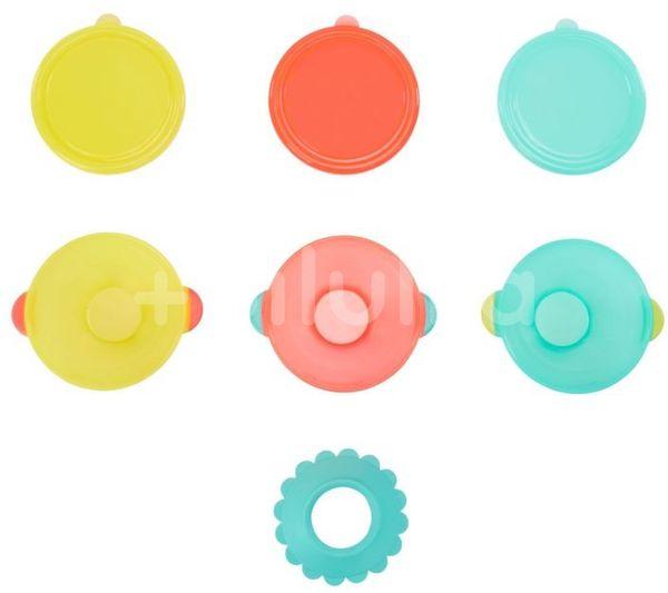 Badabulle Misky s víčky a přísavkou Tyrkys/Orange/Yellow sada 3x330ml