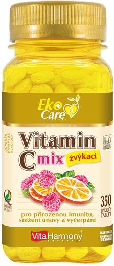VitaHarmony VE Vitamin C 100 mg MIX, pomeranč a malina - 350 žvýk. tbl.
