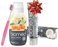 Vánoční Biomed Superwhite & Citrus Fresh zubní pasta a voda s kartáčkem navíc 3ks