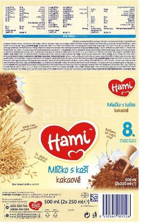 Hami mlíčko s kaší kakaové od uk. 8. měsíce 2X250ml