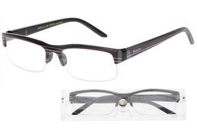 American Way Čtecí brýle černé s pruhy a pouzdrem +2.00